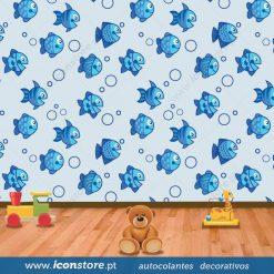 Papel de parede Peixes redondos infantil em vinil autocolante decorativo