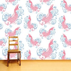 Papel de parede padrão Peixe Carpa em vinil autocolante decorativo