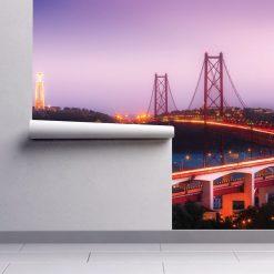 Ponte 25 de Abril e Cristo Rei mural de parede em vinil autocolante decorativo