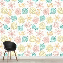 Papel de parede padrão Quatro estações em vinil autocolante decorativo