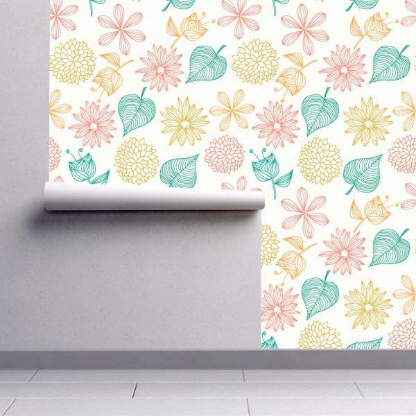 Papel de parede padrão Quatro estações em vinil autocolante decorativo. Aplique esta imagem em qualquer superfície lisa e sem textura. Além disso, ao contrário do papel de parede tradicional, não precisa aplicar colas.
