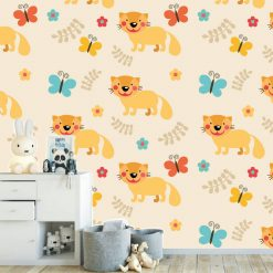 Papel de parede padrão Raposa infantil em vinil autocolante decorativo. Aplique esta imagem em qualquer superfície lisa e sem textura. Além disso, ao contrário do papel de parede tradicional, não precisa aplicar colas.
