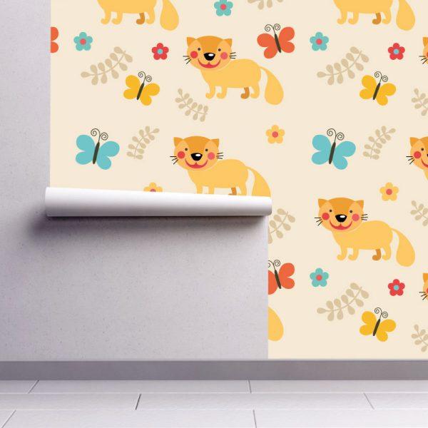 Papel de parede padrão Raposa infantil em vinil autocolante decorativo