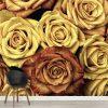 Rosas Amarelas mural de parede em vinil autocolante decorativo