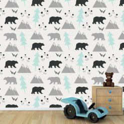 Papel de parede Ursos e montanhas infantil em vinil autocolante decorativo. Aplique esta imagem em qualquer superfície lisa e sem textura. Além disso, ao contrário do papel de parede tradicional, não precisa aplicar colas.