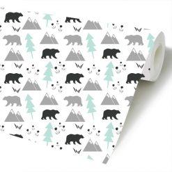 Papel de parede Ursos e montanhas infantil em vinil autocolante decorativo