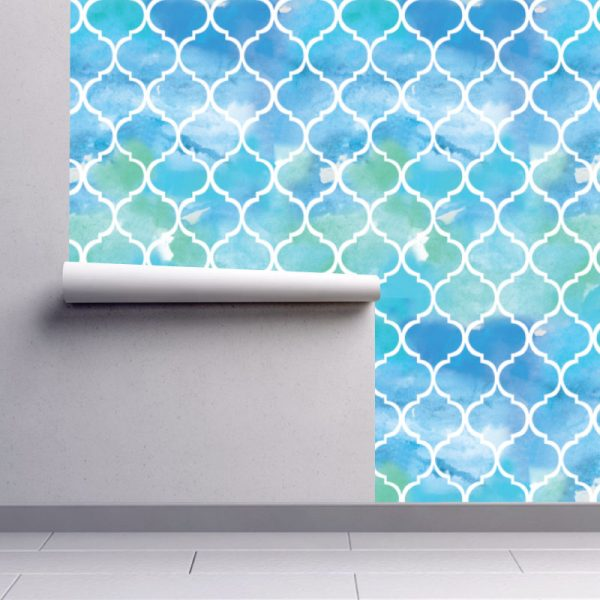 Papel de parede Art Déco geométrico aguarela em vinil autocolante decorativo. Aplique esta imagem em qualquer superfície lisa e sem textura. Além disso, ao contrário do papel de parede tradicional, não precisa aplicar colas.