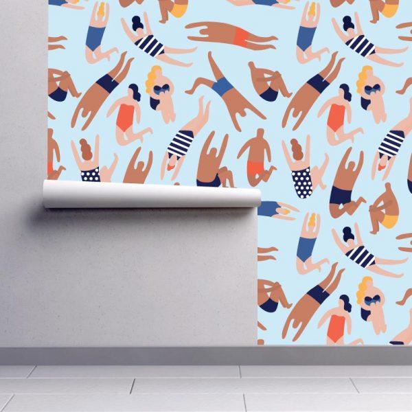 Papel de parede Banhistas em vinil autocolante decorativo. Aplique esta imagem em qualquer superfície lisa e sem textura. Além disso, ao contrário do papel de parede tradicional, não precisa aplicar colas.