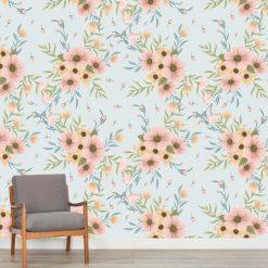 Papel de parede Boêmia floral em vinil autocolante decorativo. Aplique esta imagem em qualquer superfície lisa e sem textura. Além disso, ao contrário do papel de parede tradicional, não precisa aplicar colas.