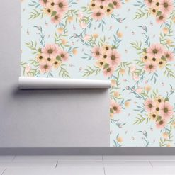 Papel de parede Boêmia floral em vinil autocolante decorativo