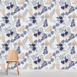 Papel de parede Botânico suave em vinil autocolante decorativo. Aplique esta imagem em qualquer superfície lisa e sem textura. Além disso, ao contrário do papel de parede tradicional, não precisa aplicar colas.