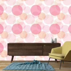 Papel de parede Círculos abstrato em vinil autocolante decorativo. Aplique esta imagem em qualquer superfície lisa e sem textura. Além disso, ao contrário do papel de parede tradicional, não precisa aplicar colas.