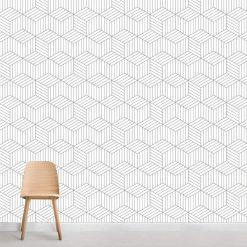Papel de parede Cubo Quatro Riscas em vinil autocolante decorativo