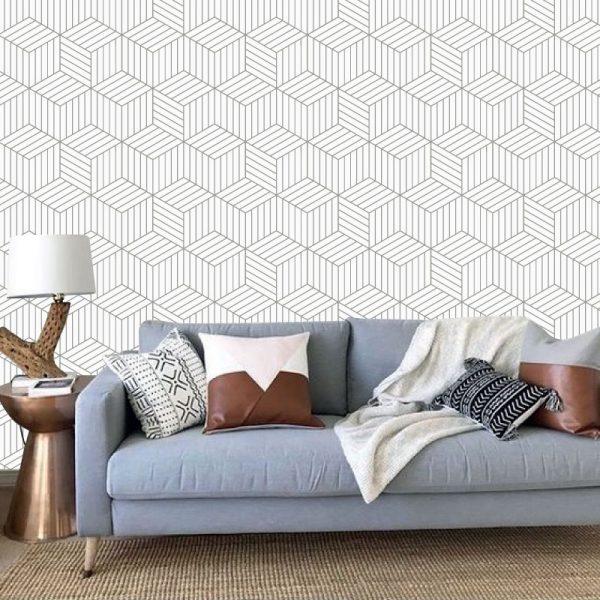Papel de parede Cubo Quatro Riscas em vinil autocolante decorativo. Aplique esta imagem em qualquer superfície lisa e sem textura. Além disso, ao contrário do papel de parede tradicional, não precisa aplicar colas.