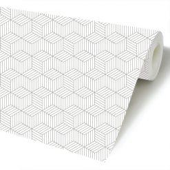 Cubo quatro riscas papel de parede rolo