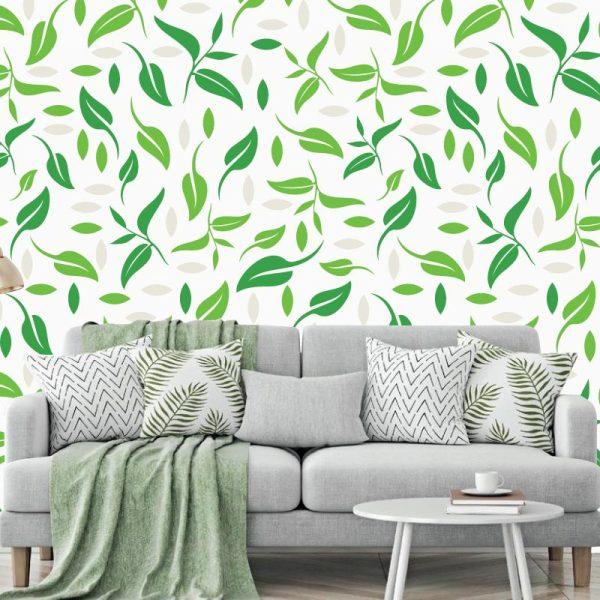 Papel de parede Florar verde leves em vinil autocolante decorativo