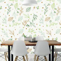 Papel de parede Flores verdes e castanhos em vinil autocolante decorativo. Aplique esta imagem em qualquer superfície lisa e sem textura. Além disso, ao contrário do papel de parede tradicional, não precisa aplicar colas.