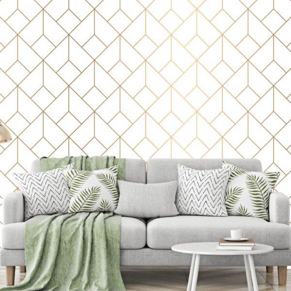Papel de parede Geométrico ouro padrão em vinil autocolante decorativo