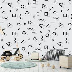 Papel de parede Menphis preto e branco infantill em vinil autocolante decorativo. Aplique esta imagem em qualquer superfície lisa e sem textura. Além disso, ao contrário do papel de parede tradicional, não precisa aplicar colas.