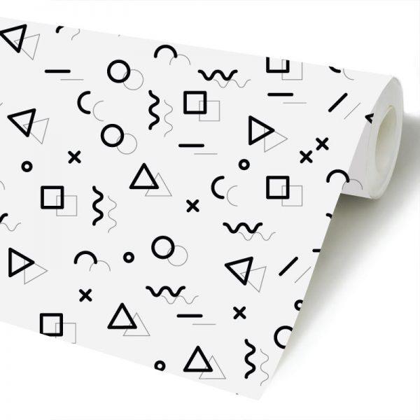 Papel de parede Menphis preto e branco infantill em vinil autocolante decorativo