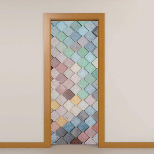 Pedras coloridas, autocolante decorativo para portas e paredes. Aplique esta imagem em qualquer superfície lisa e sem textura paredes, vidros, portas, mobiliário…