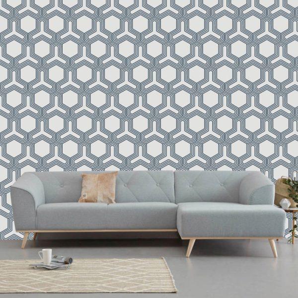 Papel de parede Polígono geométrico escandinavo, em vinil autocolante decorativo
