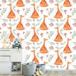 Papel de parede Raposa pintura aguarela infantil em vinil autocolante decorativo