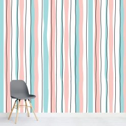 Papel de parede Riscas verticais pastel em vinil autocolante decorativo