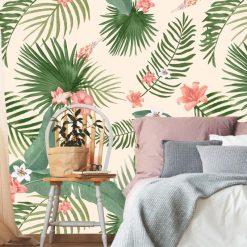 Papel de parede Tropical fundo creme em vinil autocolante decorativo