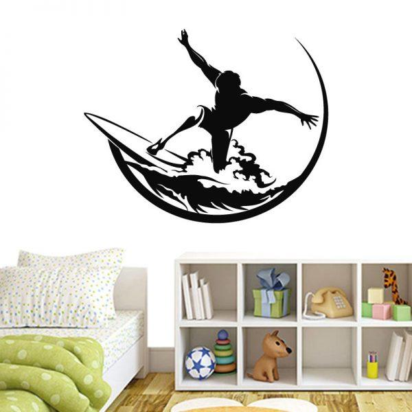 Surfista na onda. Autocolante decorativo de parede para os amantes do surf.