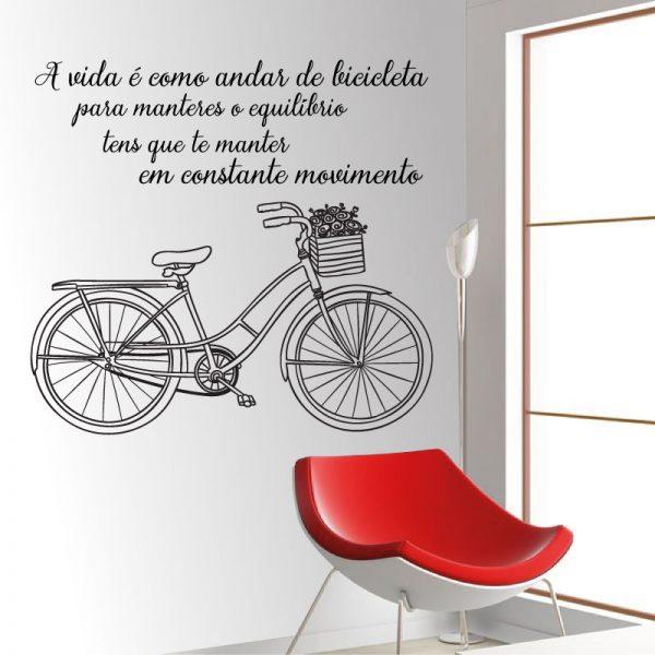 A vida é como andar de Bicicleta vinil autocolante