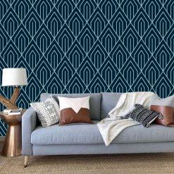 Papel de parede Art Deco Geométrico azul escuro, em vinil autocolante decorativo