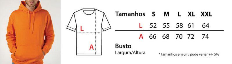 Tabela de tamanhos sweatshirts com capuz