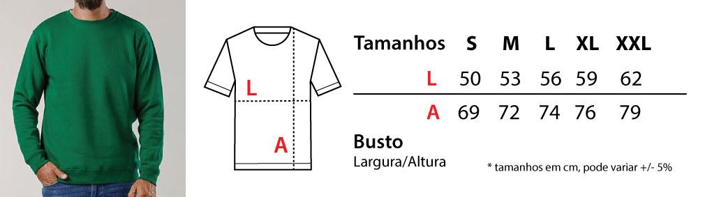 Tabela de tamanhos sweatshirts