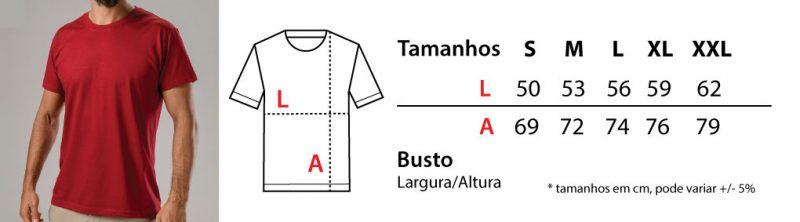 tabela de tamanhos t-shirts