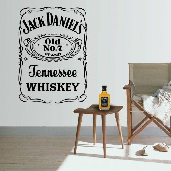 Jack Daniels autocolante em vinil decorativo de parede. Autocolante para fans de bom whisky
