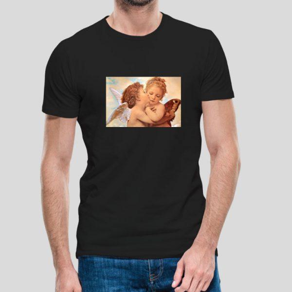 T-shirt Beijo dos anjos. T-Shirts unissexo 100% Algodão, moderna e básica de manga curta com visual contemporâneo.